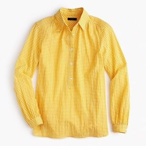 J. Crew Gathered Popover Shirt in Yellow Gingham
